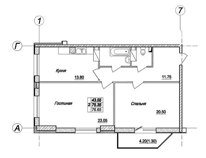 Планировка Двухкомнатная квартира площадью 76.7 кв.м в ЖК «Просвещения 85 (NordEst)»